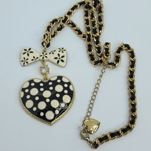 Betsey Johnson polka dots bow heart long necklace